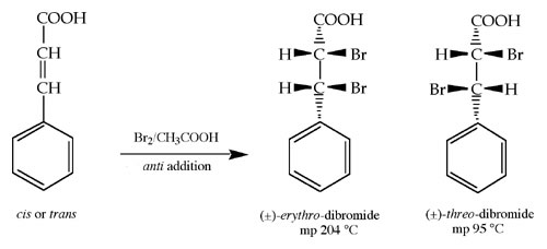 trans cinnamic acid bromination